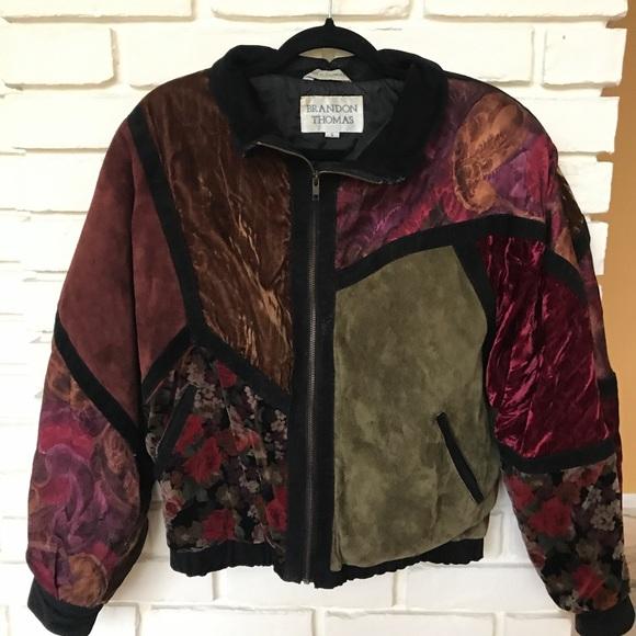 690deff6f Vintage suede patchwork bomber jacket